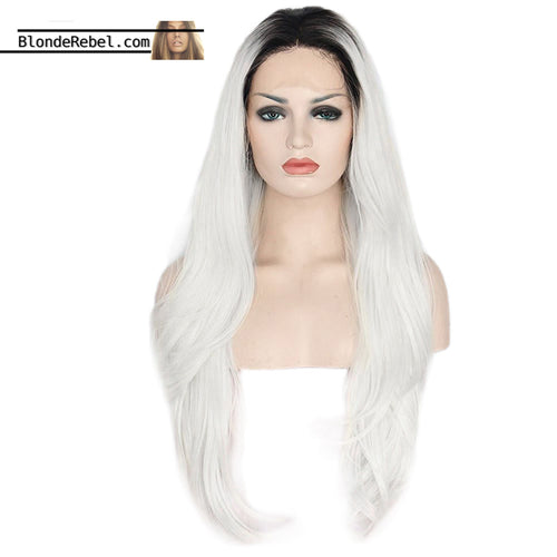 Dany (Ombre White Dark Rooted Heat Resistant Synthetic Lace Front Wig)