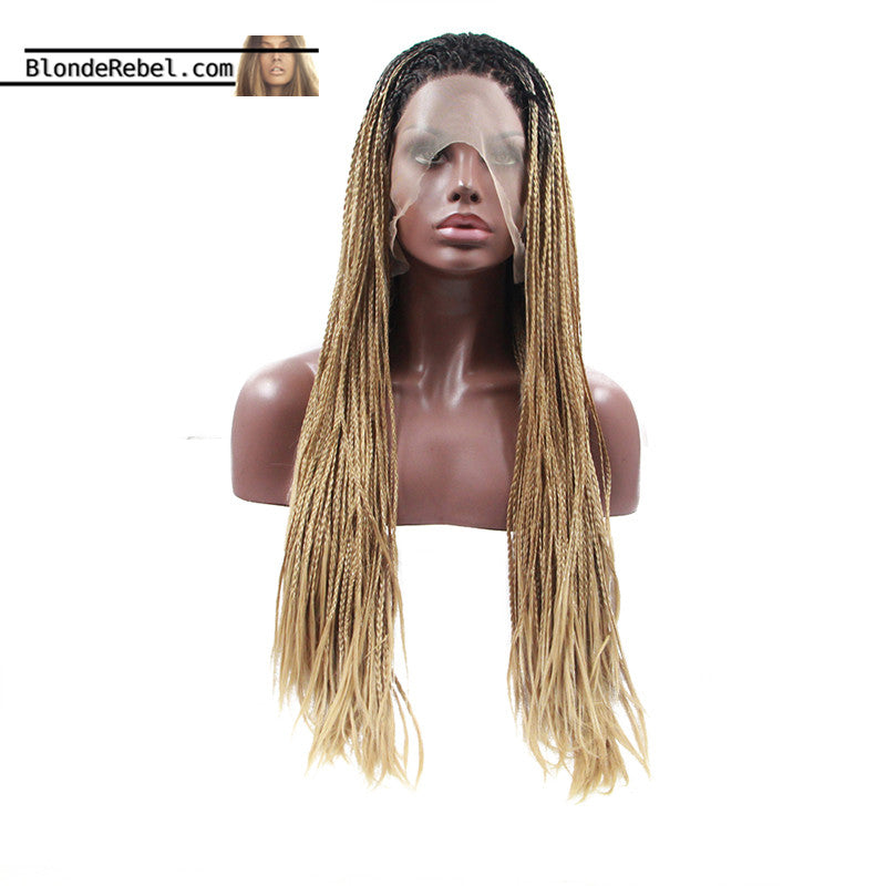 Bailey (Blonde Ombre Dark Rooted Lace Front Long Micro Braided Heat Safe Synthetic Wig)