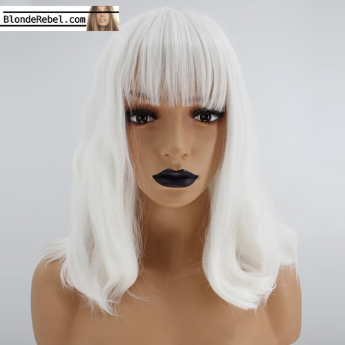 Atomic White (White Bobbed And Banged Heat Safe Synthetic Wig)