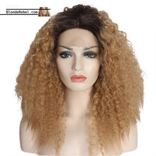 Zandra (Blonde Ombre Dark Rooted Kinky Wavy Lace Front Synthetic Wig)