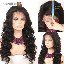 "Amour (Loose Wave Natural Black 100% Human Hair Lace Front Wig w/ 6"" Parting, 12-26 Inches available)"