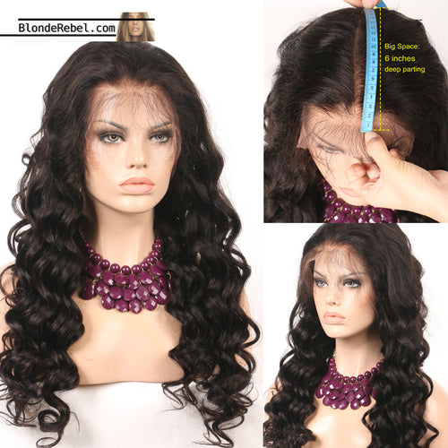 Amour (Loose Wave Natural Black 100% Remy Human Hair 13x6 LF Wig, 12