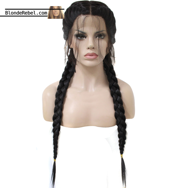 Heidi (Natural Black Braided w/ Baby Hairs Synthetic Heat Safe Lace Front Wig)