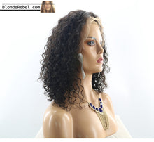 "Nathalie (Water Wave Curly Natural Black 100% Human Hair Lace Front Wig, 6"" Parting Space, 10-14 Inches available)"