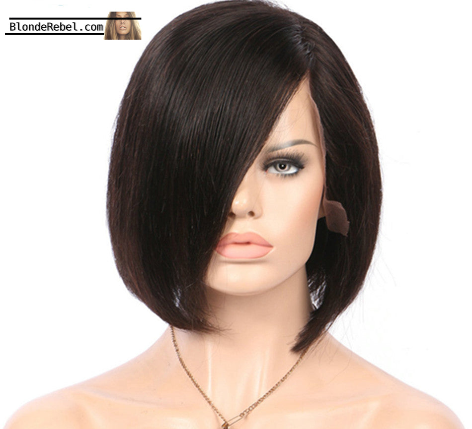 Leah (Silky Straight Natural Black 100% Human Hair LF Bob Wig, 6