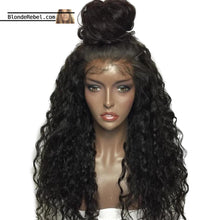 "Bebe (Curly Natural Black 100% Human Hair Lace Front Wig w/ 6"" Parting, 12-26 Inches available)"