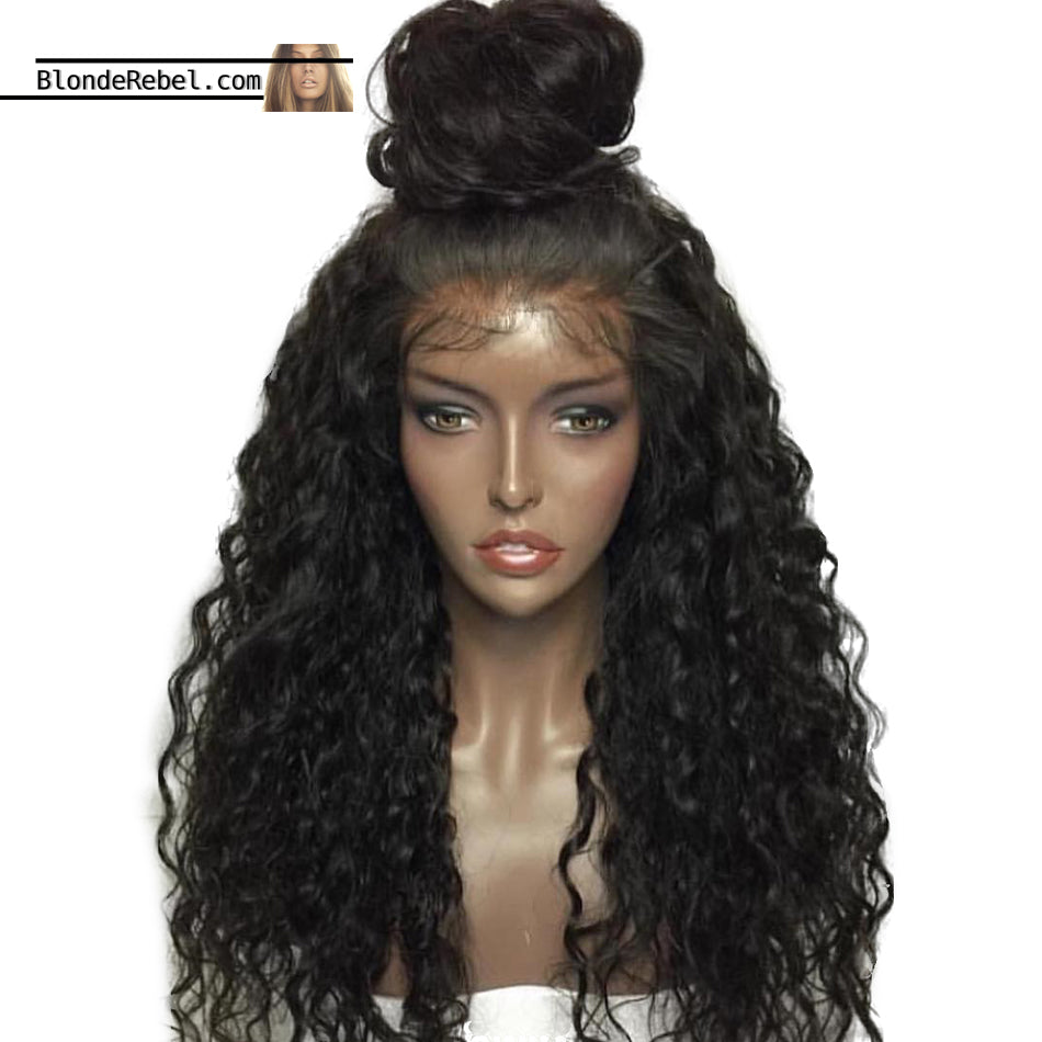 Bebe (Curly Natural Black 100% Human Hair Lace Front Wig w/ 6