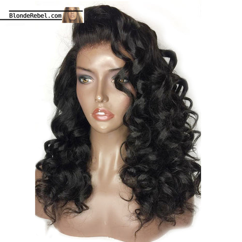 Amour (Loose Wave Natural Black 100% Human Hair Lace Front Wig w/ 6