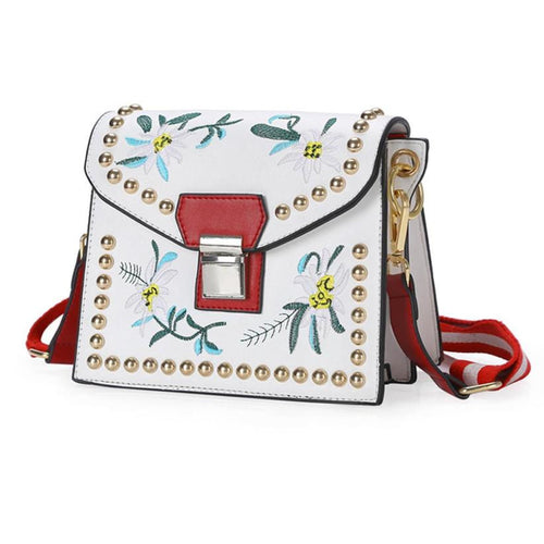 Bohemian Shoulder/Messenger Hard Structure Bag w/ Embroidery