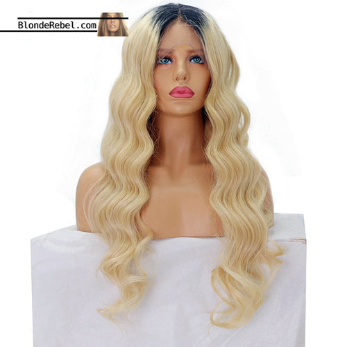 Blondie w/Roots (Body Wave Blonde 100% Remy Human Hair Lace Front Wig, 10-24 Inches available)