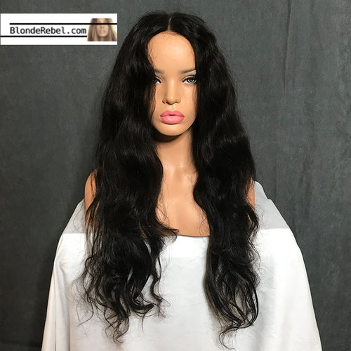Callie (Wavy Natural Black 100% Remy Human Hair 13x6 Lace Front Wig, 12-26 Inches available)