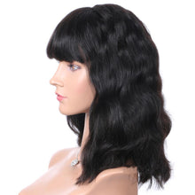 "Kerri (Natural Black 100% Remy Human Hair Body Wave 13x6 LF Wig w/ Bangs 8""-12"" avail.)"