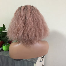 "Holly (14"" Water Wave Pink Bob Synthetic Heat Safe Lace Front Wig)"
