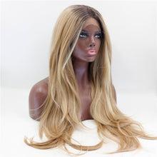 "Denver (20""-28"" Body Wave Ombre Rooted Blonde w/ HLs Synthetic Heat Safe Lace Front Wig)"
