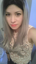 "Viva (18""-30"" Straight Body Ombre Rooted Grey Silver Blonde Synthetic Heat Safe Lace Front Wig)"
