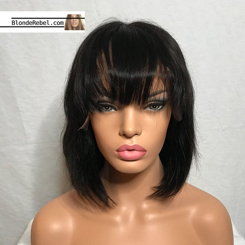 Baby (Silky Straight Natural Black 100% Remy Human Hair 13x6 LF Wig w/ Bangs, 8