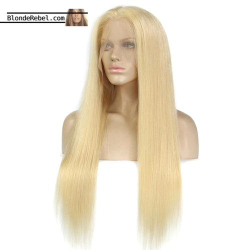 Bae (Silky Straight 613 Blonde 100% Remy Human Hair, 6 Inch Parting Lace Front Wig, 8-24 Inches available) Select Density