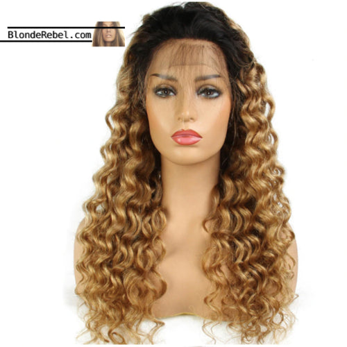 Icon (Honey Blonde Body Waves Ombre Roots 100% Remy Human Hair 13x3 LF Wig 8
