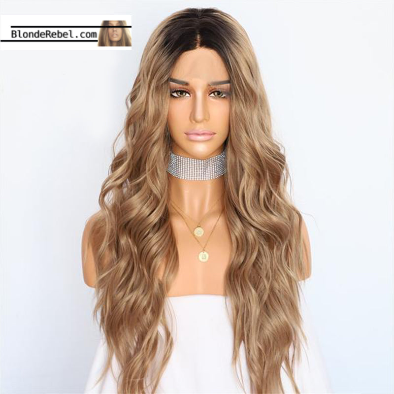 Jaime (Ombre Bronde Rooted Long Heat Safe Synthetic Lace Front Wig 22