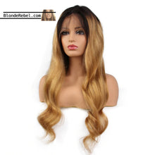 "Lacey (#27 Blonde Body Wave Ombre Roots 13x6 LF 100% Remy Human Hair Wig 8""-24"" Choose Density)"
