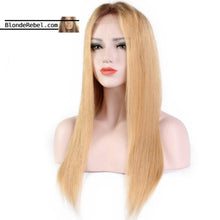 "Macie (Silky Straight Honey Blonde Ombre Roots 13x6 LF 100% Remy Human Hair Wig 8""-24"" Avail.)"
