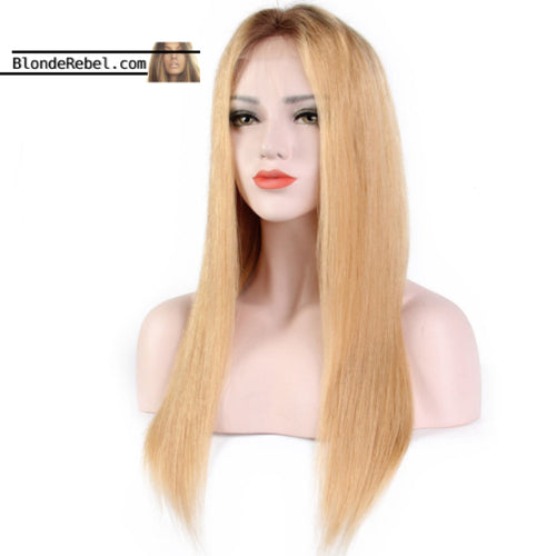 Macie (Silky Straight Honey Blonde Ombre Roots 13x6 LF 100% Remy Human Hair Wig 8