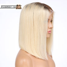"Nola (Silky Straight Blonde W/ Roots Color 4/613 100% Remy Human Hair 13x4 LF Wig 8""-14"")"