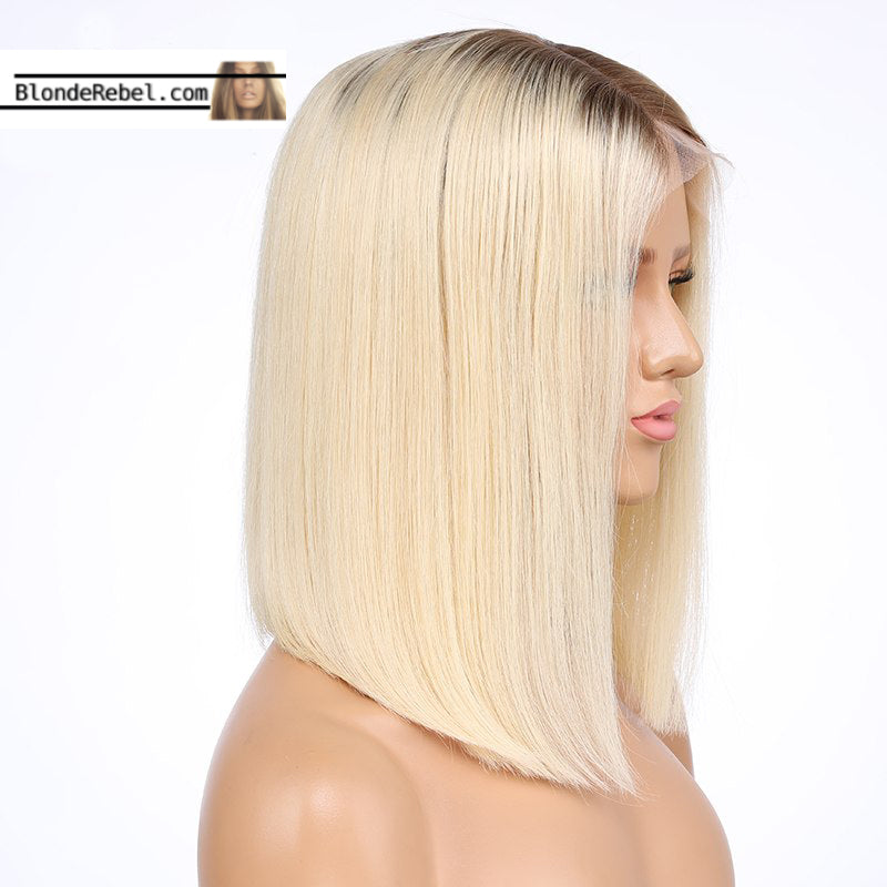 Nola (Silky Straight Blonde W/ Roots Color 4/613 100% Remy Human Hair 13x4 LF Wig 8