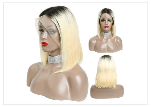 Star (13x6 Lace Front Silky Straight 1b/613 Ombre Rooted Blonde Bob Lob 100% Remy HH 150% & 180% Density)