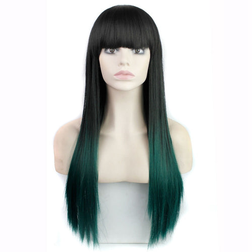 Zoe (Long Ombre Banged Two Tone Fashion Synthetic Wigs ~ Green/Burgundy)