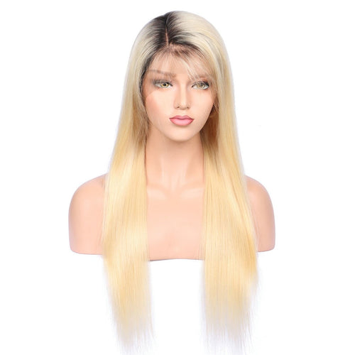 Grace (Silky Straight 1B/613 Blonde Ombre Roots GLUELESS FULL LACE 100% Remy Human Hair Wig 10