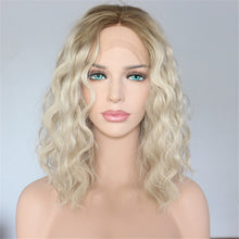 "Dahlia (Water Wave Heat Safe Synthetic LF Wig 14"" Blonde Ombre RoseGold Pink Natural Black)"