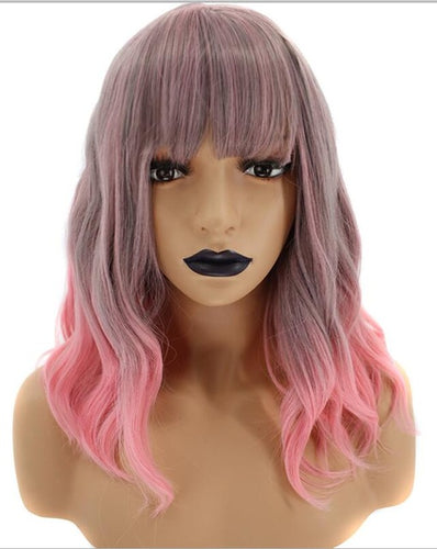 Atomic Pink Ombre (Pink Ombre Dipped Bobbed And Banged Heat Safe Synthetic Wig)