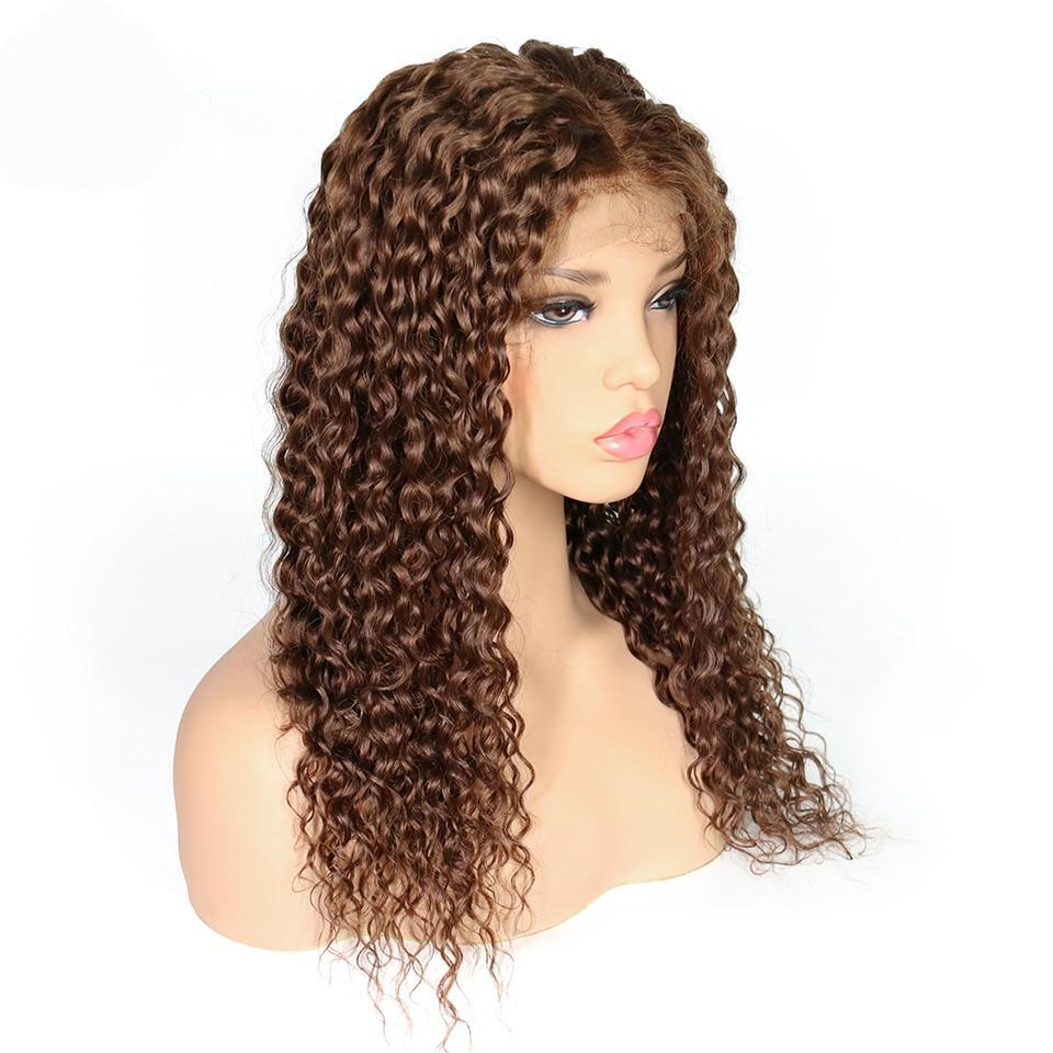 QT (Brown Color 4 Deep Curly Wavy 13x3 LF 100% Remy Human Hair Wig 10