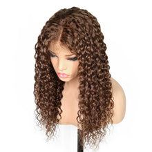 "QT (Brown Color 4 Deep Curly Wavy 13x3 LF 100% Remy Human Hair Wig 10""-24"" Avail.)"