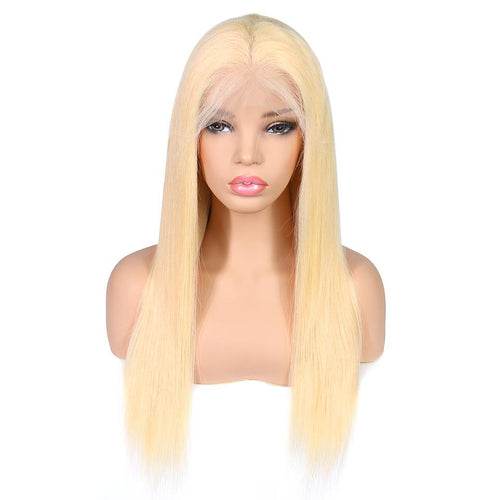 Cecelia (Silky Straight 613 Blonde 100% Remy Human Hair Lace Front Wig, 8-20 Inches available)