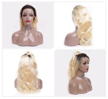 "Beta (Body Wave Blonde w/Roots 1B/613 100% Remy Human Hair 13x4 LF Wig 150% Density 8""-22"")"