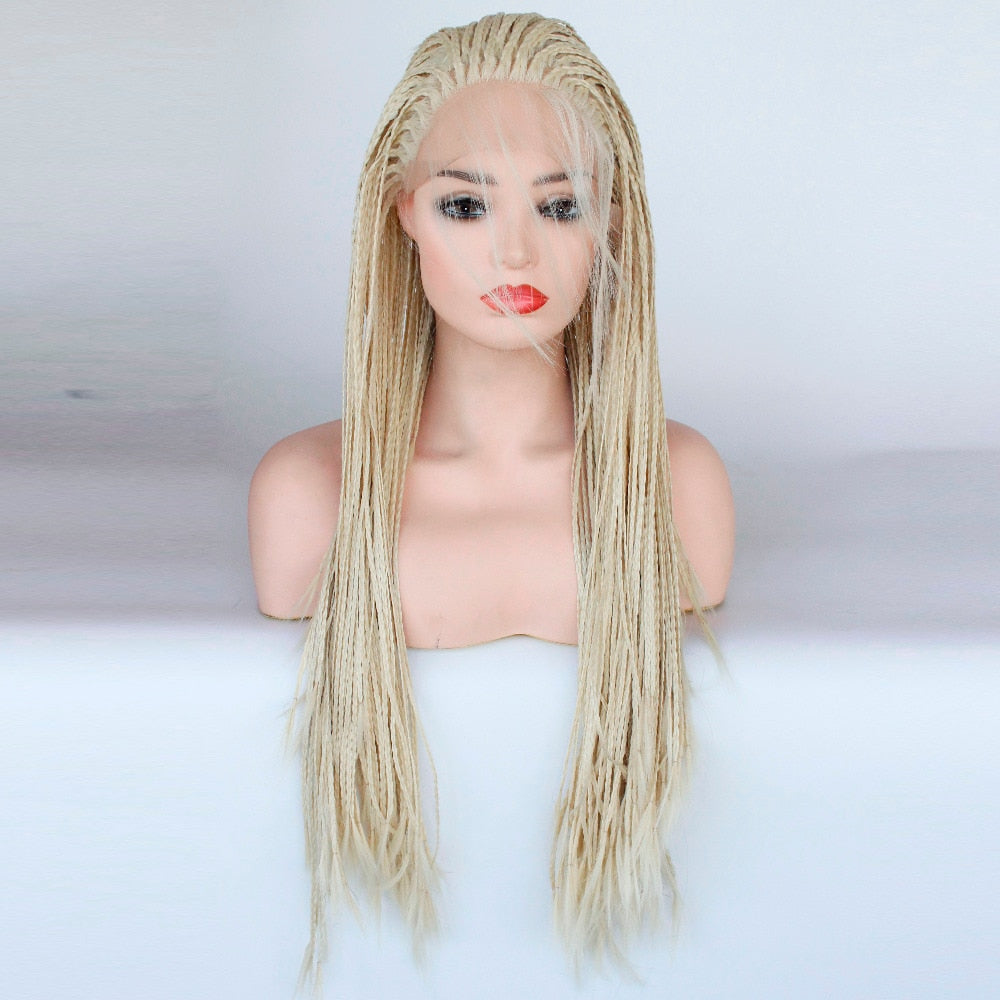 Daily (613 Blonde Lace Front Long Micro Braided Synthetic Wig w/ Baby Hair, 20