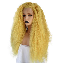 "Mellow  (24"" Curly Bright Lemon Yellow Synthetic Heat Safe Lace Front Wig)"
