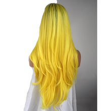 "Yellow (24"" Body Wave Rooted Toxic Bright Yellow Synthetic Heat Safe Lace Front Wig)"