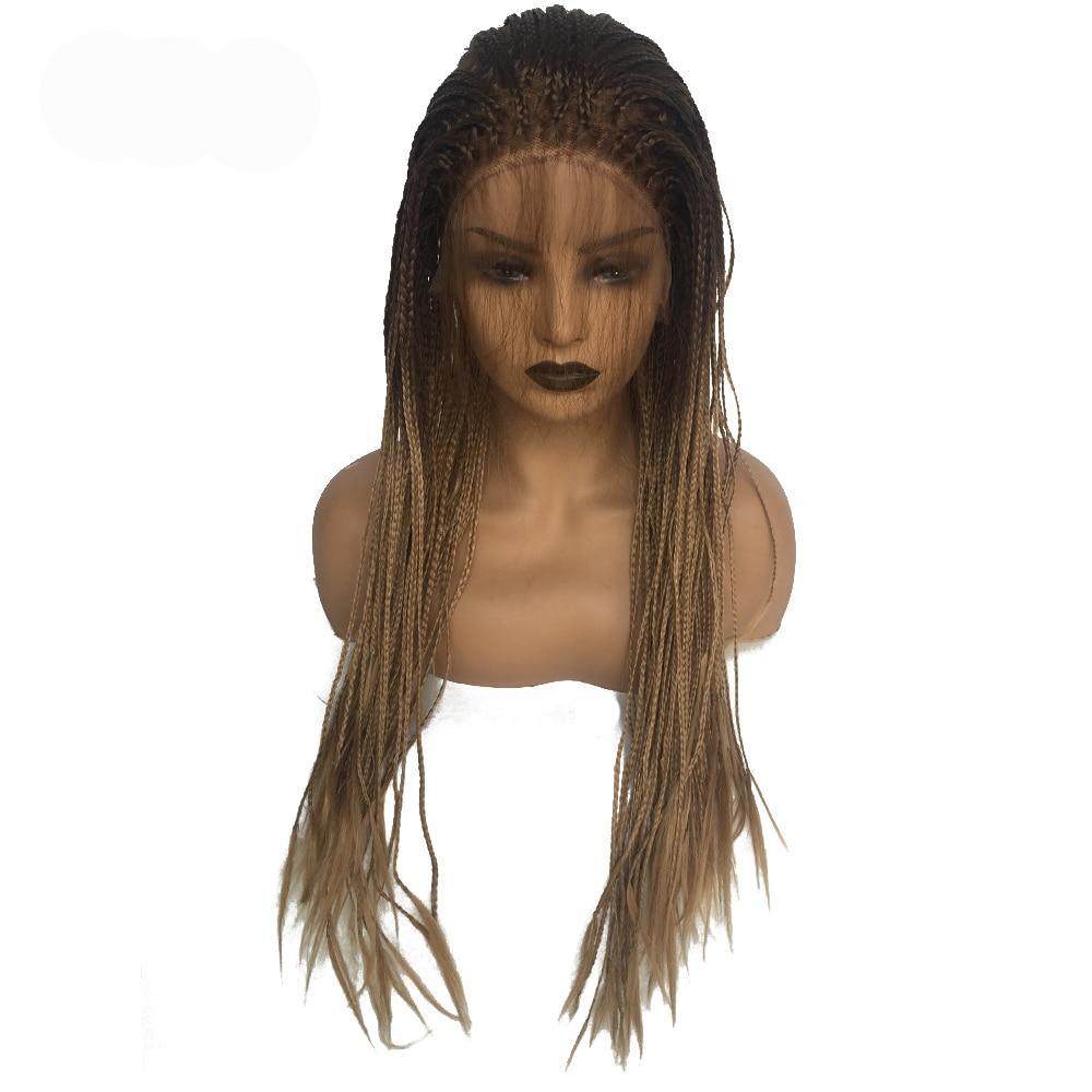 Bailey 2 (Ombre Rooted Blonde Lace Front Long Micro Braided Synthetic Wig w/ Baby Hair, 20