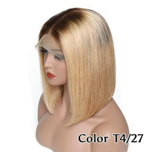 "Caryl (Blonde Bob Ombre Dark Rooted Color 4/27, 13x4 LF 100% Remy Human Hair Wig 8""-14"" Avail.)"