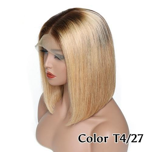 Caryl (Blonde Bob Ombre Dark Rooted Color 4/27, 13x4 LF 100% Remy Human Hair Wig 8