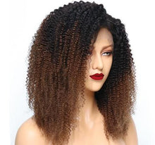 "Kissie (Kinky Curly Ombre Tipped Honey Auburn 13x4 LF 100% Remy Human Hair Wig 8""-20"" Avail.)"