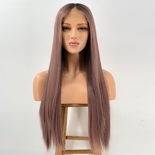 Amber Auburn (Ombre Rooted Auburn Silky Straight Synthetic Heat Safe 13x6 LF Long Wig)