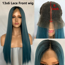 Blue (Ombre Rooted Blue Silky Straight Synthetic Heat Safe 13x6 LF Long Wig)