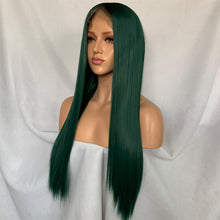 Greenie (Ombre Rooted Green Silky Straight Synthetic Heat Safe 13x6 LF Long Wig)