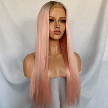 Pinks (Ombre Rooted Light Pink Silky Straight Synthetic Heat Safe 13x6 LF Long Wig)