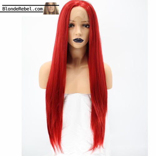 Red Letter (Red Long Silky Straight Heat Safe Synthetic Lace Front Wig)
