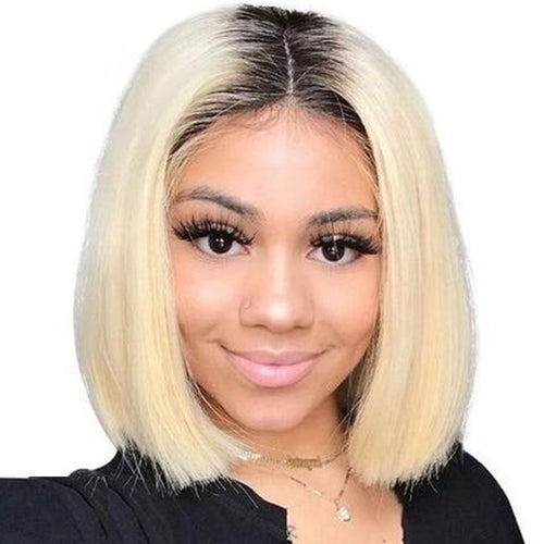 Star (13x6 Lace Front Silky Straight 1b/613 Ombre Rooted Blonde Bob Lob 100% Remy HH 150% Density)